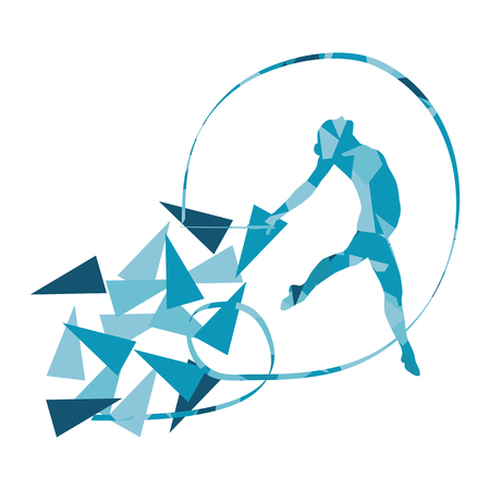 costume ball: Gymnastic woman with ribbon vector background illustration concept made of polygonal fragments isolated on white Illustration