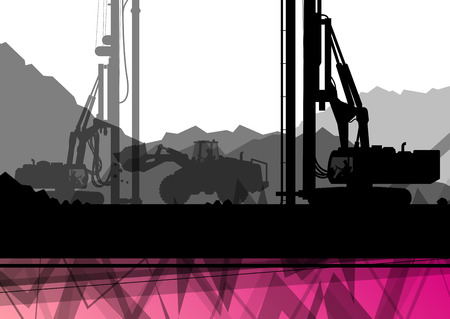 industrial construction: Construction site excavator tractors hydraulic pile drilling machines and workers digging at industrial construction site abstract vector background illustration