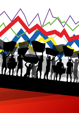 economic crisis: Economic crisis line chart with protesting people banners and signs in abstract vector background illustration Illustration