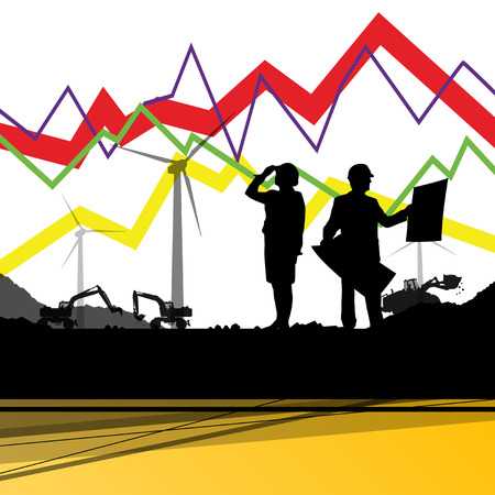 cell tower: Economics data chart and engineers silhouettes and mobile phone telecommunications radio tower base station with in abstract background vector illustration Illustration