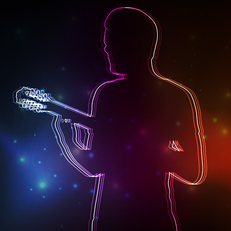 Rock guitar player vector neon background concept Illustration