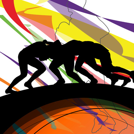 Active young men rugby player sport silhouettes abstract sport background illustration vector Illustration