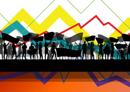 Economic crisis line chart with protesting people banners and signs in abstract vector background illustration Illustration