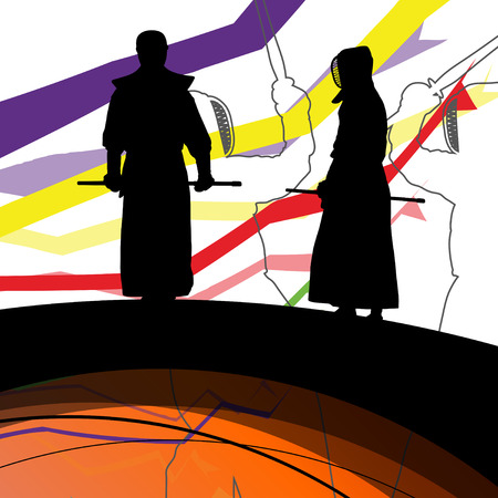 martial ways: Japanese Kendo sword martial arts active fighters sport silhouettes abstract illustration background vector Illustration