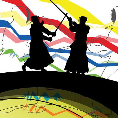 kendo: Japanese Kendo sword martial arts active fighters sport silhouettes abstract illustration background vector Illustration