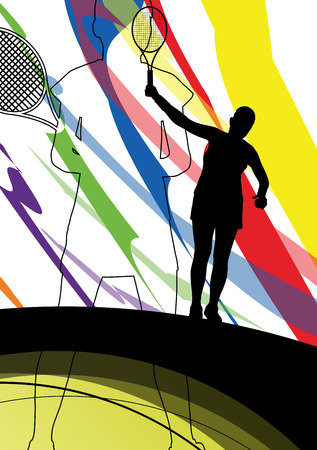 smash: Tennis players active sport silhouettes vector abstract background illustration