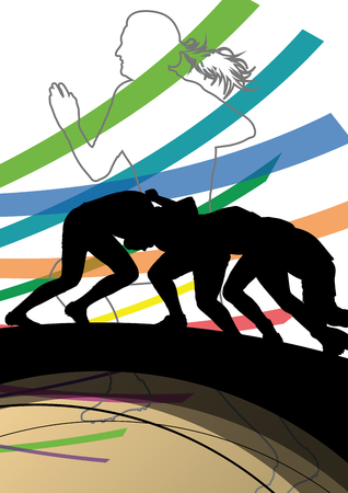 action girl: Active women rugby players young healthy sport silhouettes abstract line vector background illustration