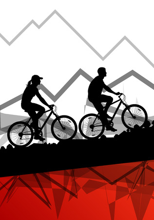 nature woman: Man and woman cyclist bicycle rider sport silhouettes in mountain wild nature landscape background illustration vector