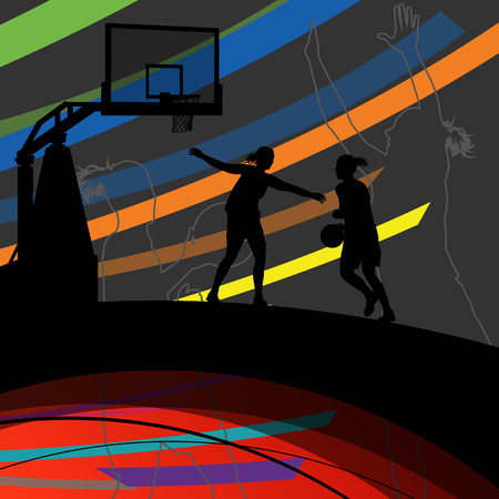 women sport: Basketball players young active women healthy sport silhouettes vector background illustration Illustration