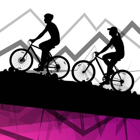 biking: Man and woman cyclist bicycle rider sport silhouettes in mountain wild nature landscape background illustration vector