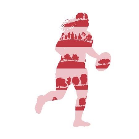 la union hace la fuerza: El jugador de rugby mujer activa deportivo ilustración vectorial concepto hecha de árboles forestales fragmentos aislados en blanco
