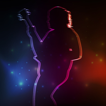 Rock guitar player vector neon background concept Çizim