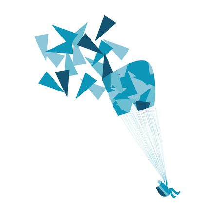 challenges: Paraglider flying vector background concept made of polygon fragments isolated on white Illustration
