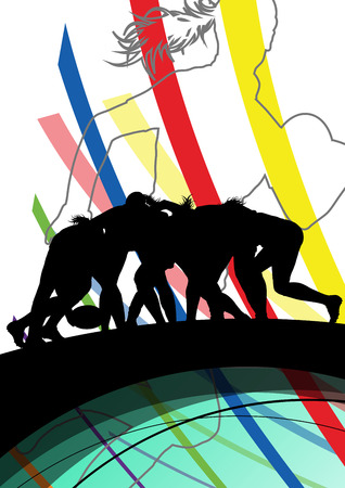 women sport: Active women rugby players young healthy sport silhouettes abstract line vector background illustration