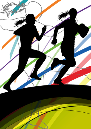 tough woman: Active women rugby players young healthy sport silhouettes abstract line vector background illustration