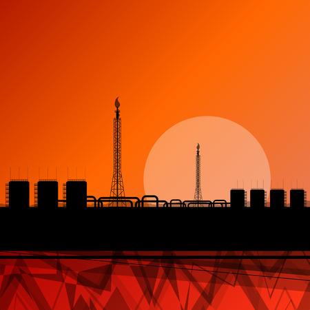 hidrógeno: Refinería de petróleo o la extracción de hidrógeno fábrica industrial paisaje ilustración abstracta del fondo del vector