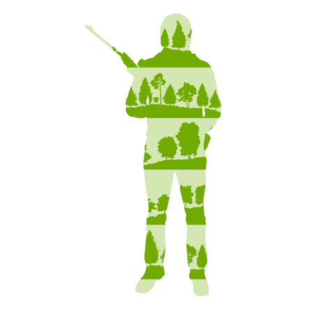 Hunter silhouette with rifle vector background concept made of forest trees fragments isolated on white