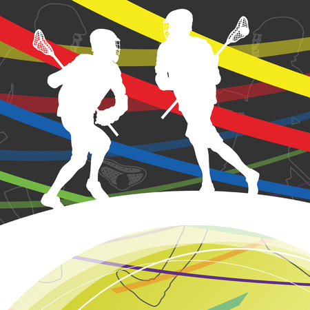 Men active sport lacrosse players silhouettes abstract background illustration vector Illustration