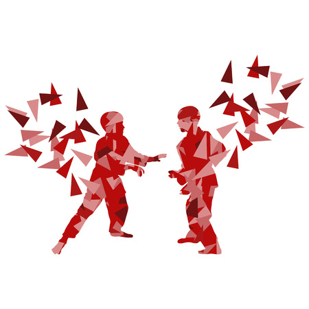 judo: Judo kid vector martial art child fight abstract illustration concept made of polygon fragments isolated on white