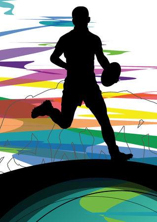 rugby player: Active young men rugby player sport silhouettes abstract sport background illustration vector Illustration