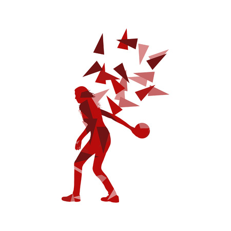 fragments: Bowler woman bowling vector background illustration concept made of polygon fragments isolated on white Illustration