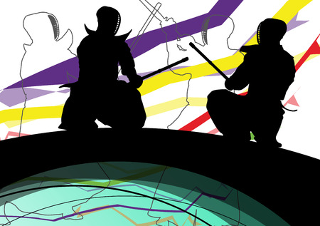 Japanese Kendo sword martial arts active fighters sport silhouettes abstract illustration background vector Illustration