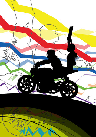 Sport motorbike riders and motorcycles silhouettes abstract illustration background vector