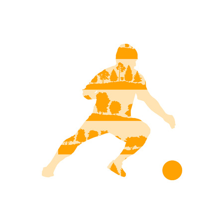 Football soccer player in action vector background illustration concept made of forest trees fragments isolated on white Illustration