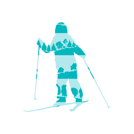 cross country: Children cross country skiing concept of little boy made of forest trees fragments isolated on white Illustration