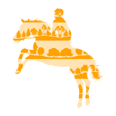 equestrian: Rider and horse equestrian sport vector background concept made of forest trees fragments isolated on white Illustration