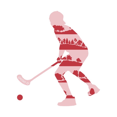 Floorball player man vector background illustration concept made of forest trees fragments isolated on white Illustration