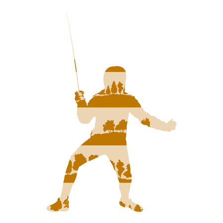 Fencing player man vector background poster illustration concept made of forest trees fragments isolated on white Illustration