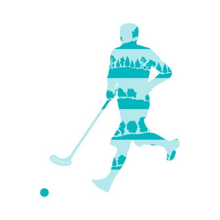 man made: Floorball player man vector background illustration concept made of forest trees fragments isolated on white Illustration