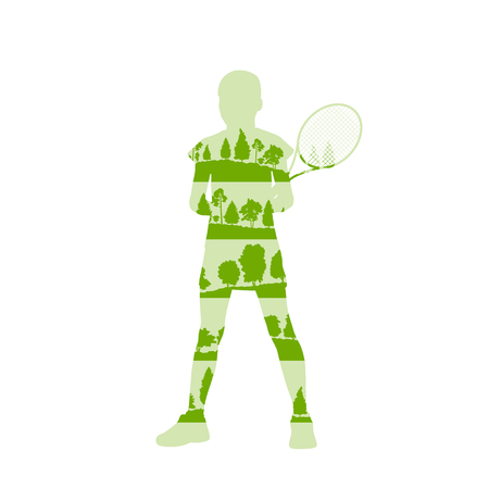 Tennis player woman abstract illustration made of tree fragments isolated on white