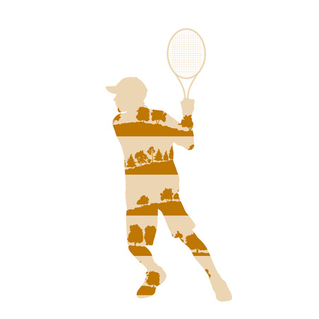 fragments: Tennis player man abstract illustration made of tree fragments isolated on white