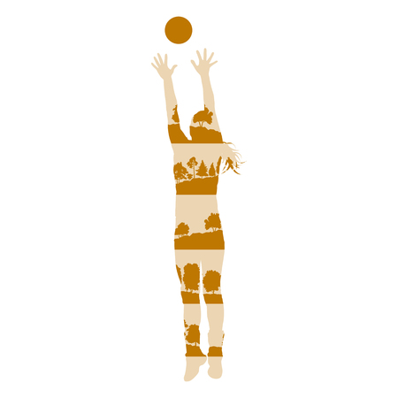 Volleyball woman player vector background concept made of forest trees fragments isolated on white