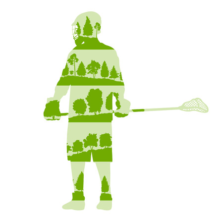 Lacrosse player in game vector background illustration concept made of forest trees fragments isolated on white Illustration