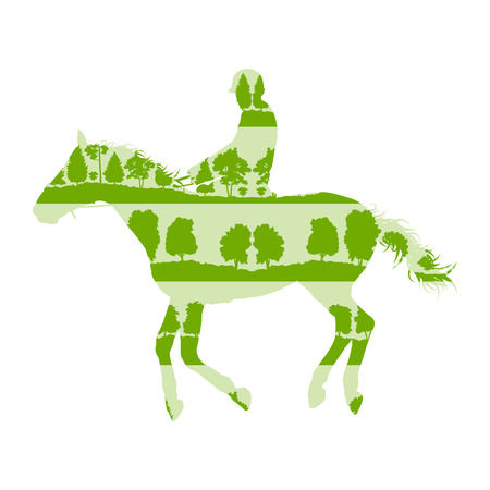 Rider and horse equestrian sport vector background concept made of forest trees fragments isolated on white Illustration