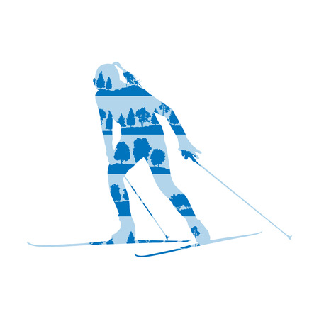 impetuous: Woman cross country skiing vector background abstract concept made of forest trees fragments isolated on white