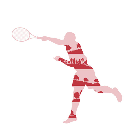 backhand: Tennis player man abstract illustration made of tree fragments isolated on white