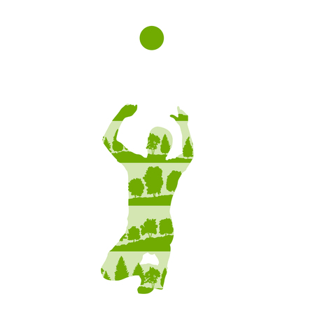 Volleyball player in action vector background concept made of forest trees fragments isolated on white