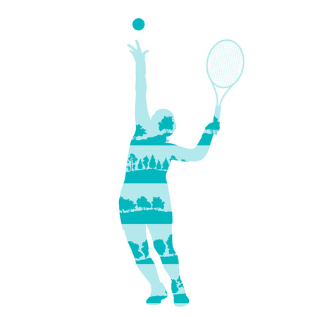 sports balls: Tennis player woman abstract illustration made of tree fragments isolated on white