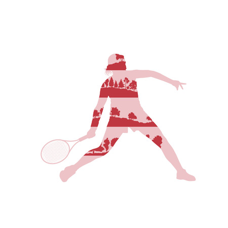 backhand: Tennis player woman abstract illustration made of tree fragments isolated on white
