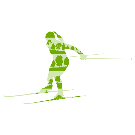 groomed: Woman cross country skiing vector background abstract concept made of forest trees fragments isolated on white
