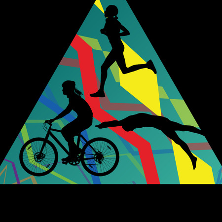 Triathlon marathon men swimming cycling and running sport silhouettes collection vector abstract background illustration
