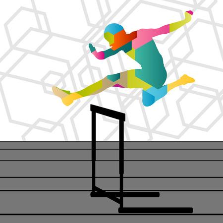 atletismo: Activa los jóvenes el deporte de atletismo con vallas barrera que se extiende siluetas ilustración de fondo abstracto