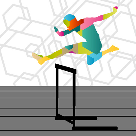 athletics: Active young men sport athletics hurdles barrier running silhouettes abstract background illustration