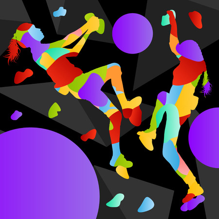 sports girl: Children rock climber sport girl athletes climbing wall in abstract silhouettes background illustration vector