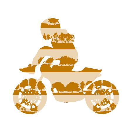 Extreme stunt bestuurder motorfiets prestaties vector achtergrond, concept van de bomen het bos fragmenten die op wit wordt geïsoleerd Stock Illustratie