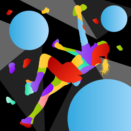 Children rock climber sport girl athletes climbing wall in abstract silhouettes background illustration vector
